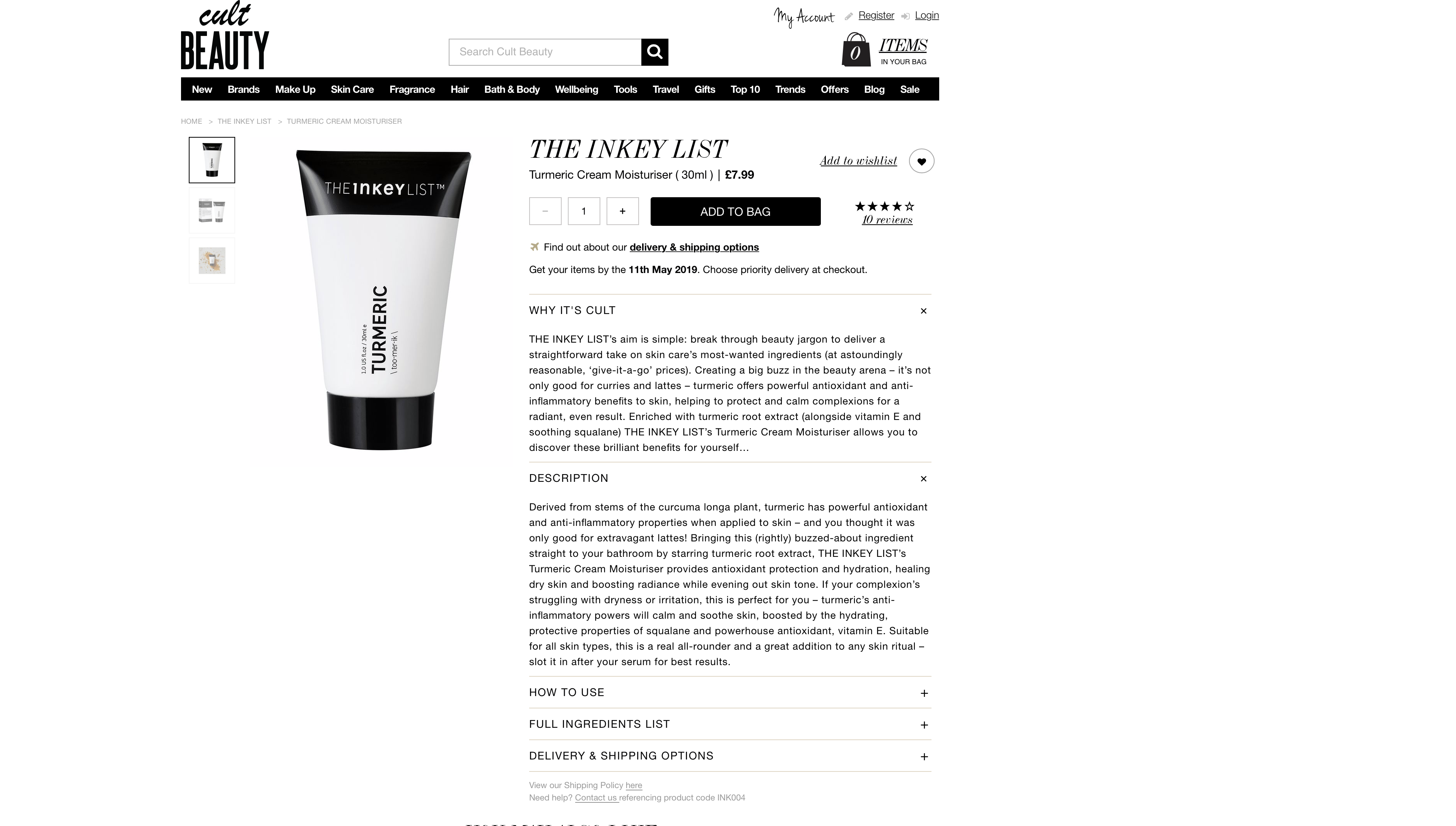 The Inkey List Tumeric Cream Moisturizer