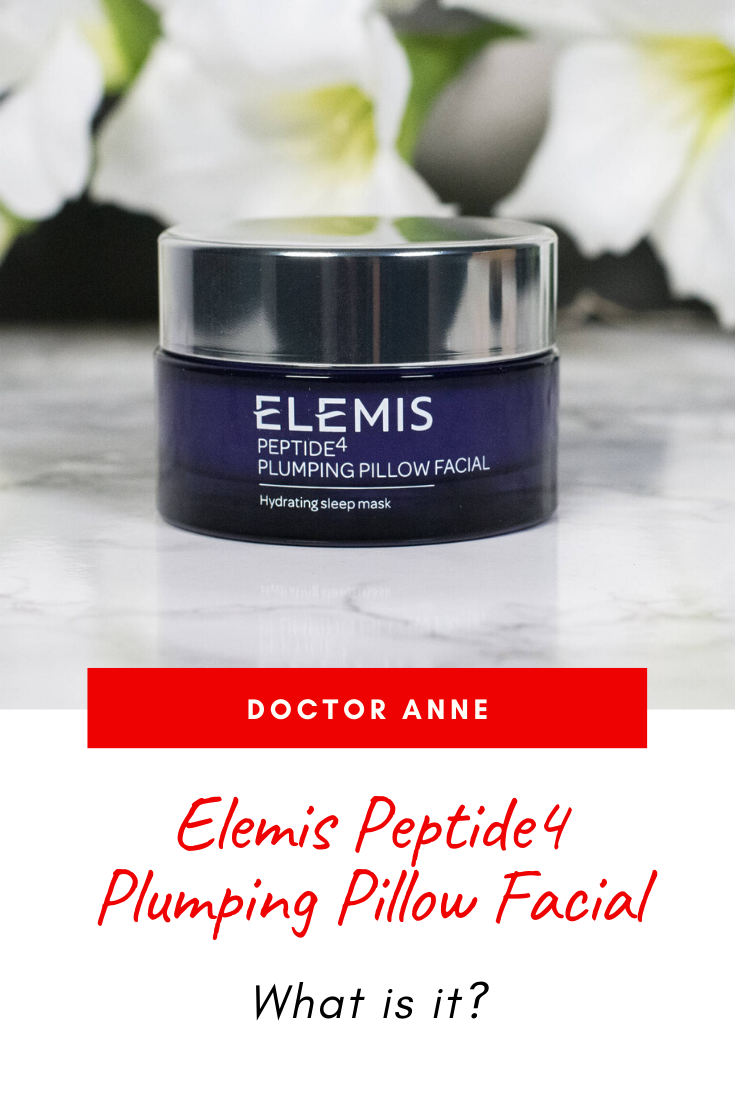 Elemis Peptide4 Plumping Pillow Facial. Let's look at ingredients, texture and how it performs on the skin.